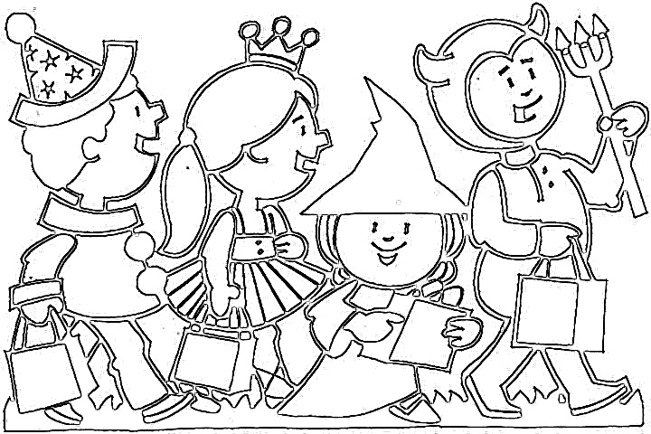 Kids Happy Halloween Coloring Pages title=