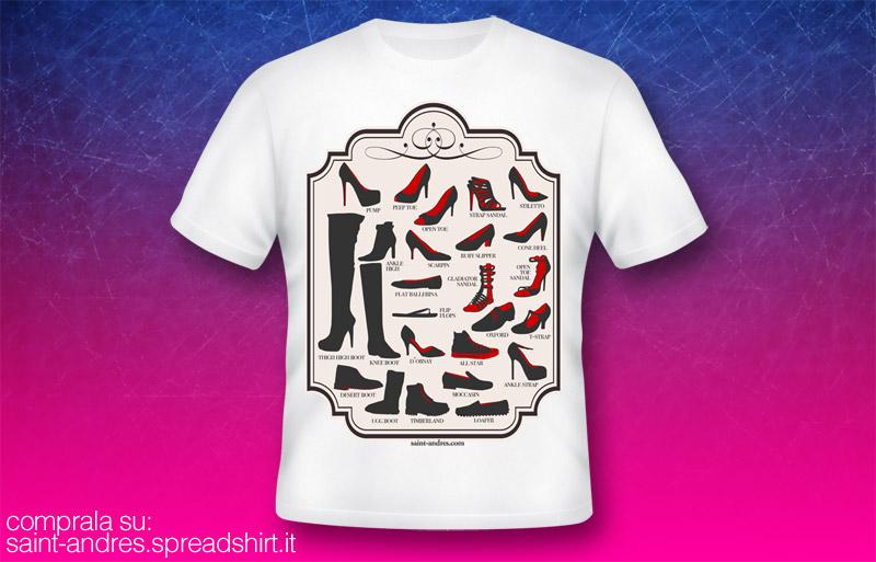 tshirt maglietta enciclopedia scarpe, tipi di scarpe, tacchi alti