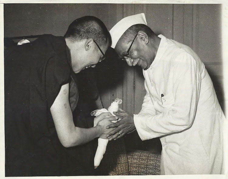 Indian President Rajendra Prasad with 14th Dalai Lama, after his exile in India from Chinese occupied Tibet - September 1959