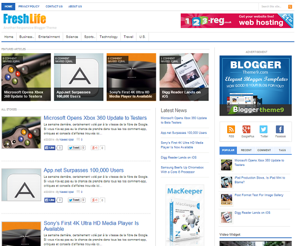 FreshLife Responsive Blogger Template