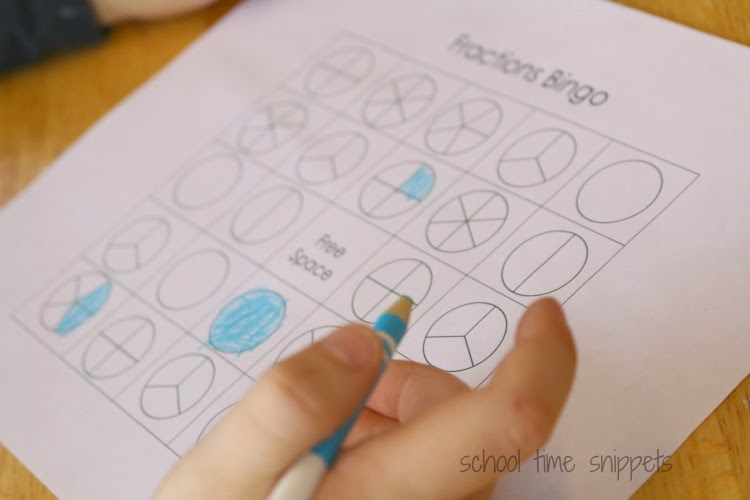 Fractions BINGO Game: {Free Printable Gameboards} | School Time ...