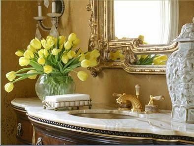 Fotos de ba os complementos ba os for Espejo dorado bano