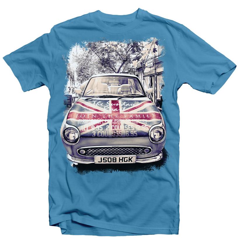 Vintage Car London Street Grunge Flag Urban