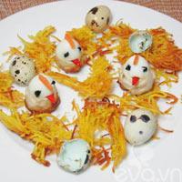 Trứng chim cút bọc giò sống