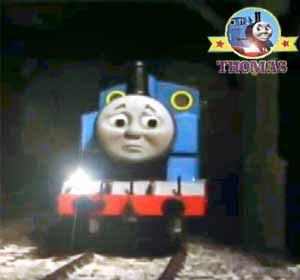 Night Thomas the tiny train stayed dark lonely bolder Mountain quarry yard railway hut buildings