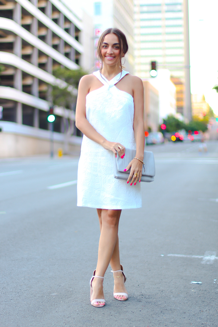 little white dress, prima donna bag, nude heels
