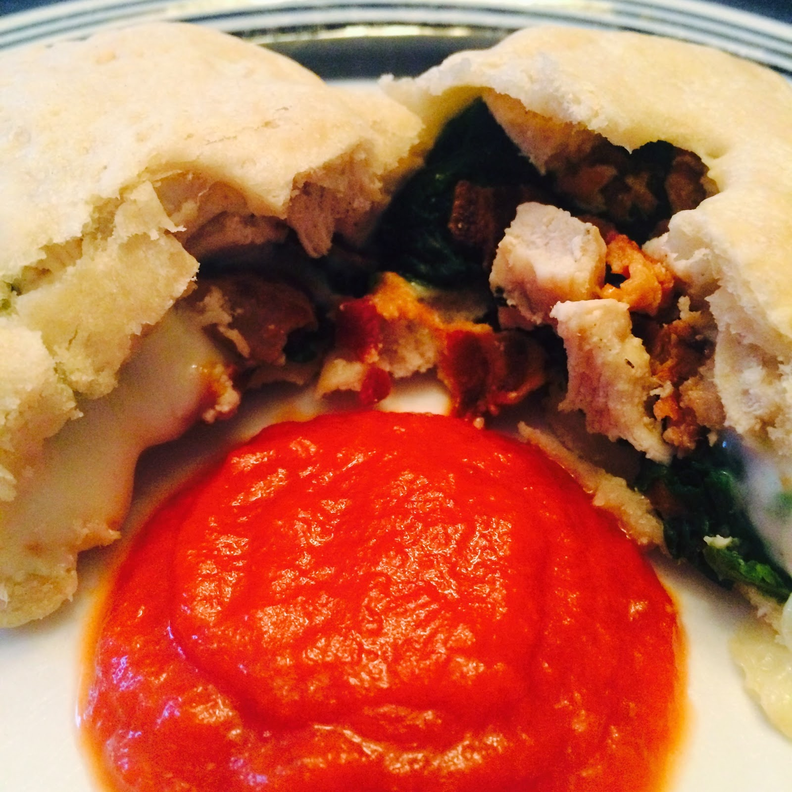 Chicken Spinach Calzones with Marinara