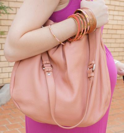 MbMJ Hillier hobo blush pink with gold bracelet stack