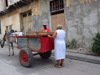 Santiago de Cuba vendor with horsecart