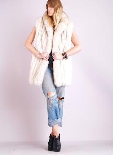 Vintage 1970's bohemian style white arctic fox fur gillet vest.