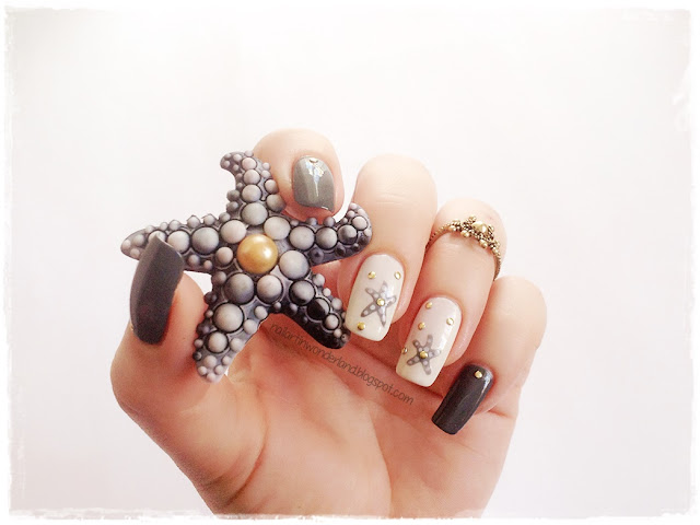 Gray and Gold | Starfish / Deniz Yıldızı Nail Art