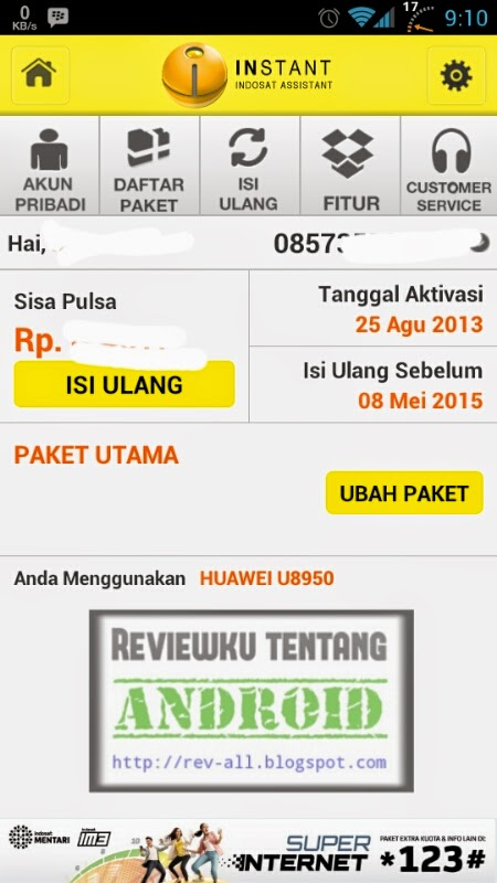 Contoh melihat informasi nomor di aplikasi INSTANT - aplikasi android Indosat Assistant (rev-all.blogspot.com)