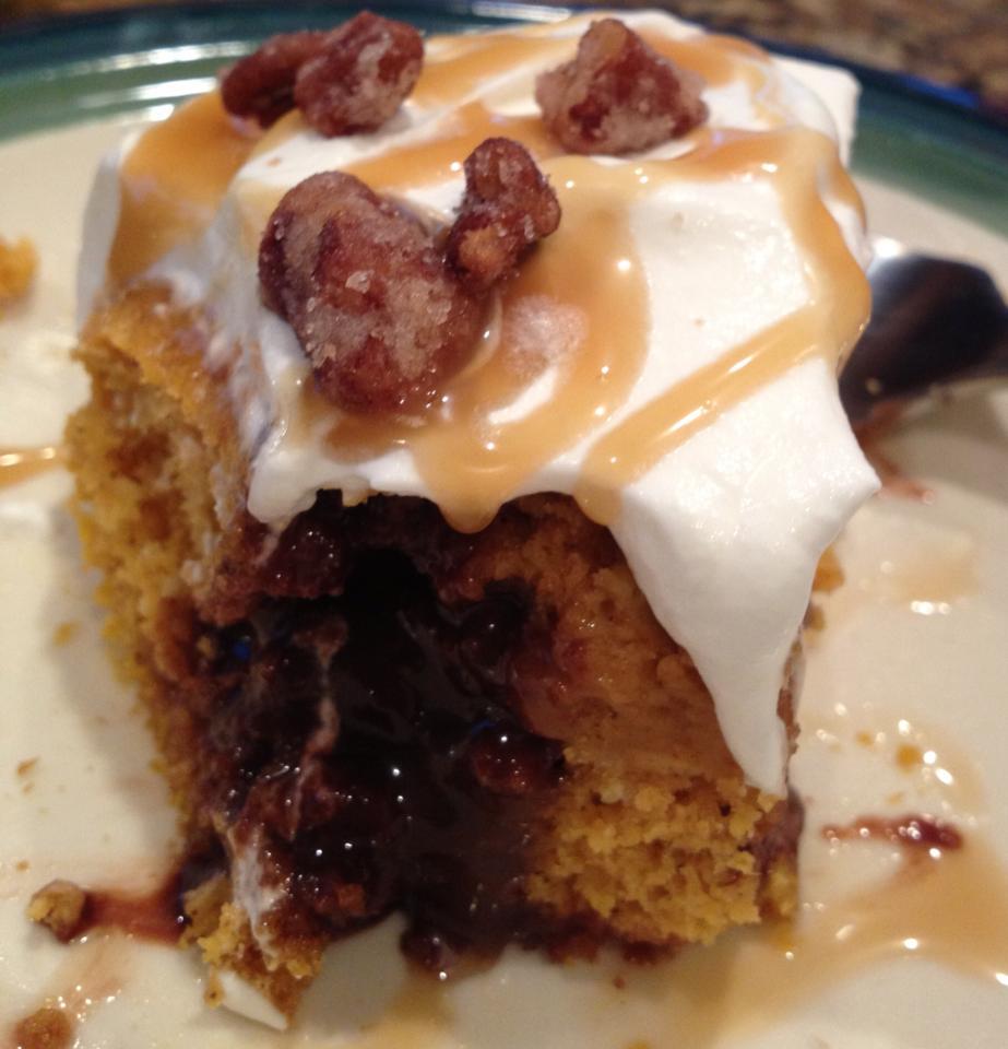 pumpkin salted caramel fudge cake 1 white cake mix 1