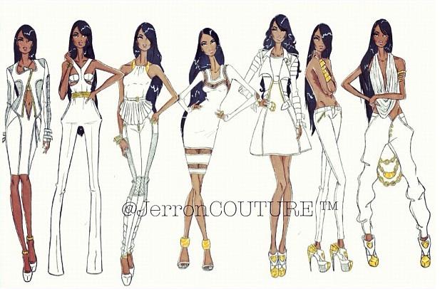 fashion design illustration white dress jerron couture urban fashion
