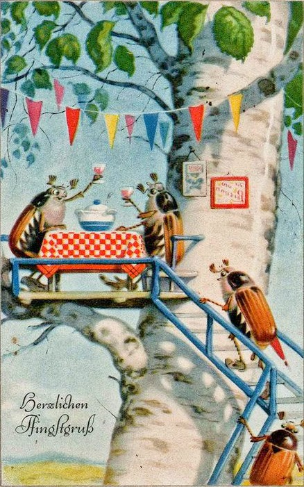 bugs picnic on a vintage German spring greetings card