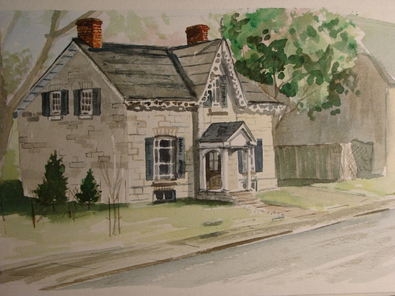 This is an early pure watercolour study en plein air of a gothic revival style home located in the historic sydenham ward on william street in kingston