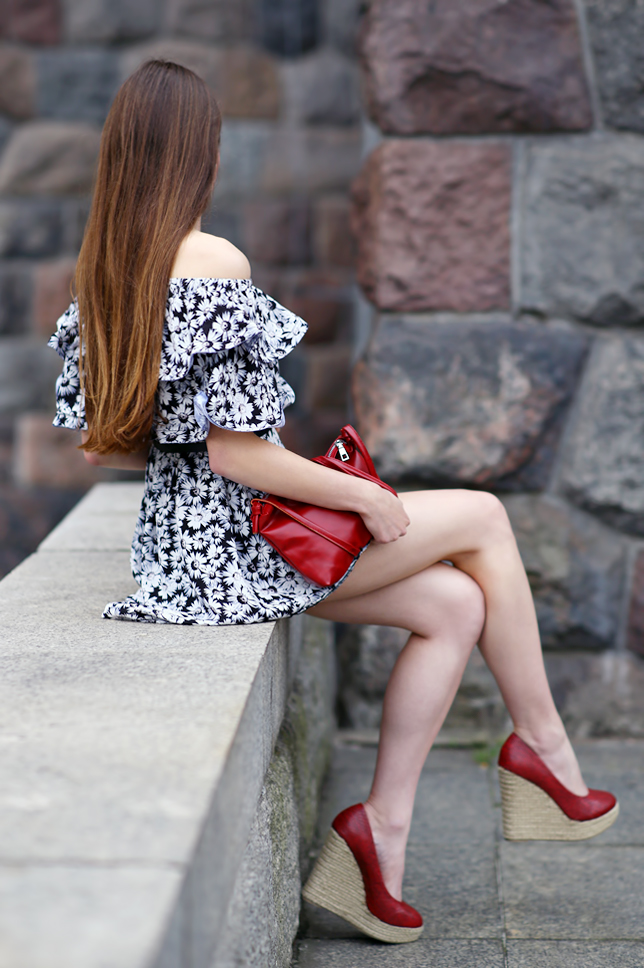 black floral dress shoulder off outfit long hair