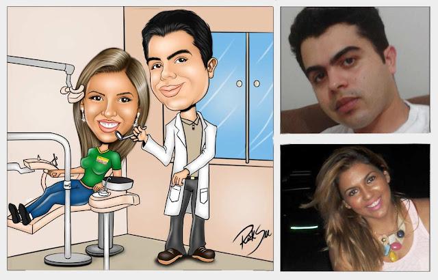 Caricatura de namorados e profissões