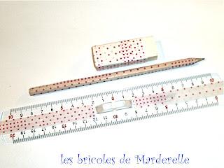 regle, gomme et crayon recouverts de masking tape
