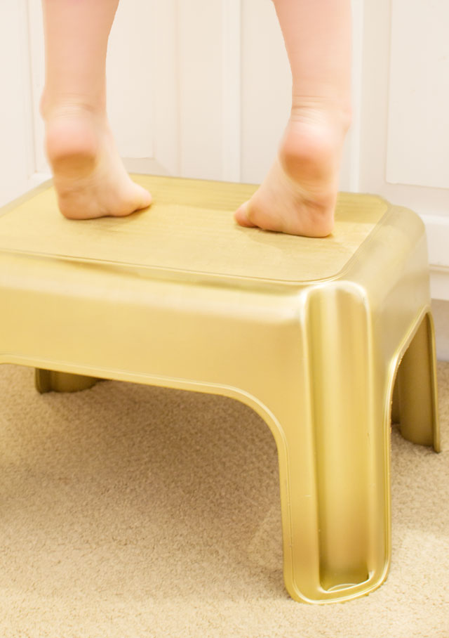 gold painted step stool