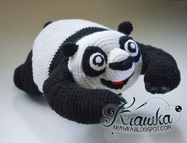 Krawka: cute little panda inspired on Kung Fu Panda 3 crochet pattern by Krawka