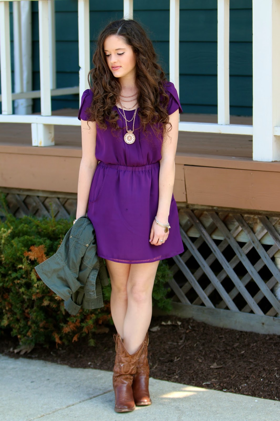 Purple Dress with Cowboy Boots