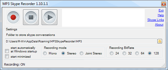MP3 Skype Recorder Main Interface