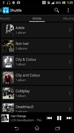 Shuttle Music Player App Screenshot