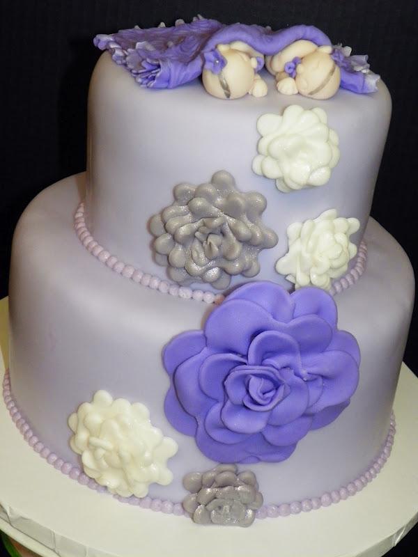 plumeria cake studio twin girls baby shower cake