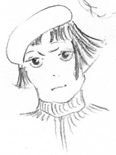 girl with tam o'shanter hat and frustrated look