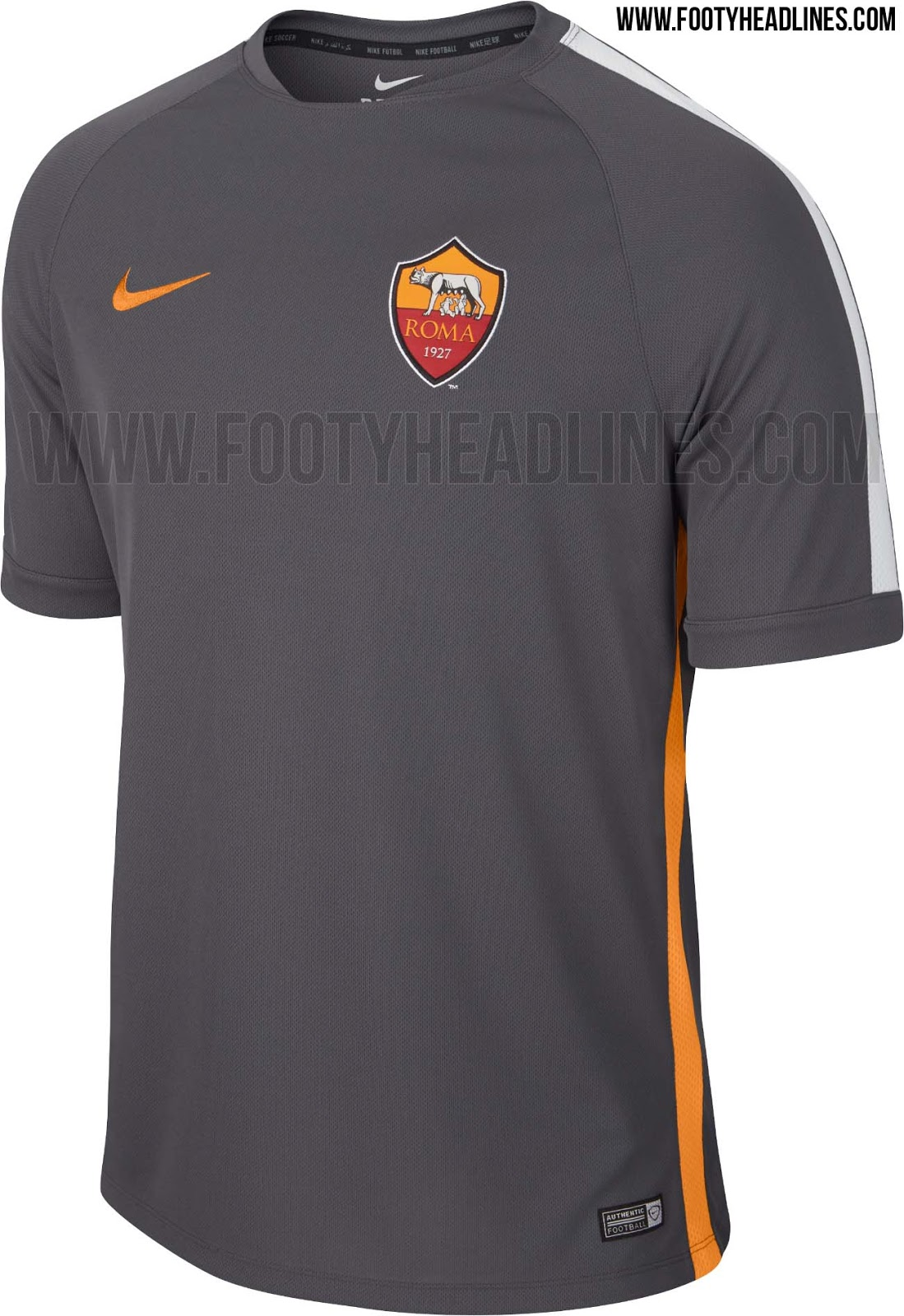 Shirt new design 2015 - The New Dark Grey Nike As Roma 2015 Training Kit Features A Simple Design With An Orange Swoosh Based On The Nike Training Shirts Design