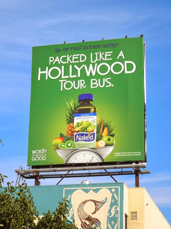 Packed like Hollywood tour bus Naked Juice billboard
