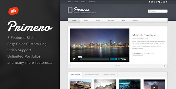 download Primero - Video WordPress Theme