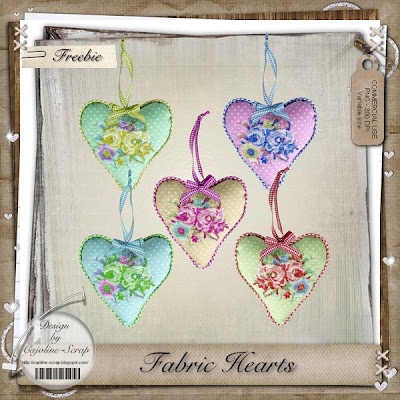 "Free Scrapbook elements ""Hearts"" from Cajoline"