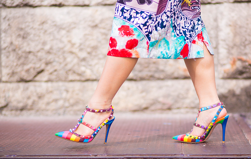New York Fashion Week 2015- Street Style- Valentino multicolored heels