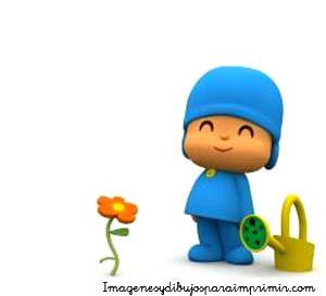 Pocoyo cuidando la flor pocoyo dibujos para imprimir