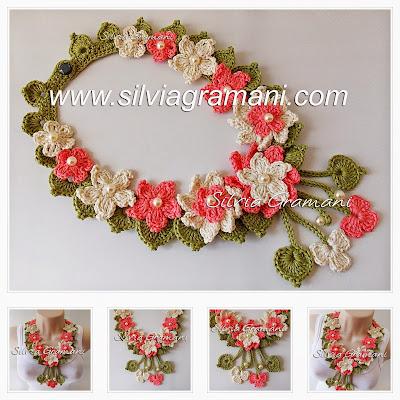 Colar de crochê com flores, colar encanto