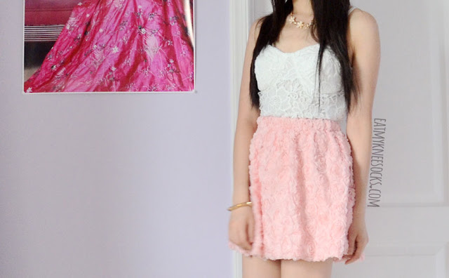 Romwe's original-design pastel pink 3D rose skater skirt looks great with a simple bustier for a cute, flirty summer or spring outfit.