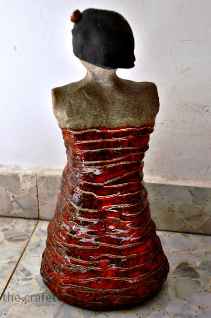 Lady in Red Ceramic Sculpture