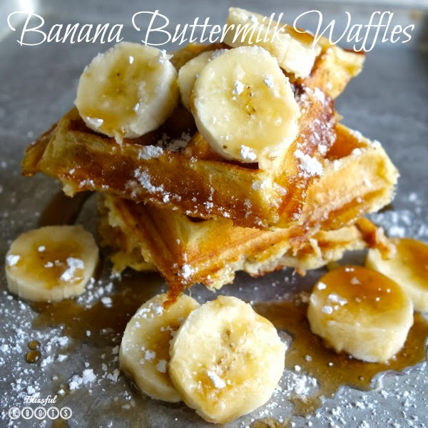 Banana Buttermilk Waffles @ Blissful Roots