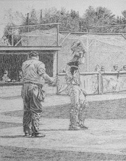 pencil drawings, renderings, John Huisman, baseball, Ely MN
