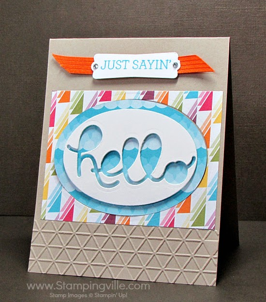 Hello card with interesting background shapes for interest. #cardmaking #papercrafts #StampinUp