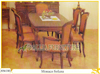 Kursi dan Meja Makan Ukiran Kayu Jati Monaco Soluna
