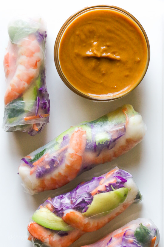Shrimp Summer Rolls with Peanut Hoisin Dipping Sauce | Skinnytaste ...