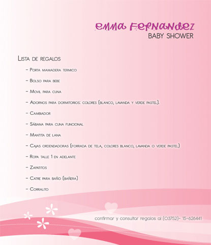 Romina Taurin Tarjetas Y Lista De Regalos Baby Shower