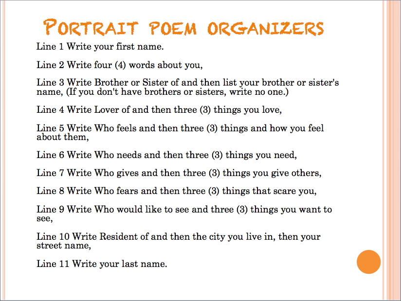 education write self portrait poem abddd