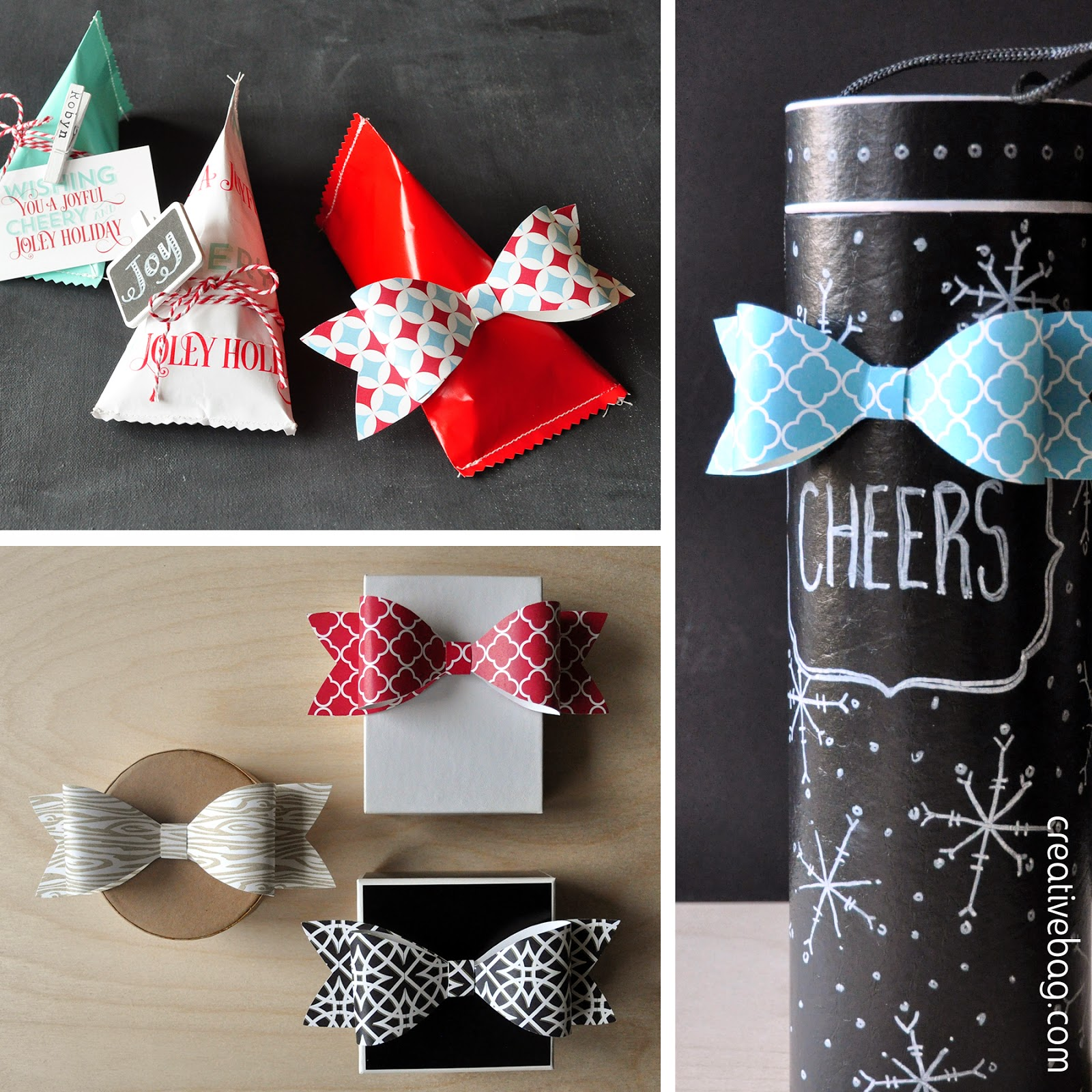 paper bow printables to download for free - for holiday packaging | creativebag.com