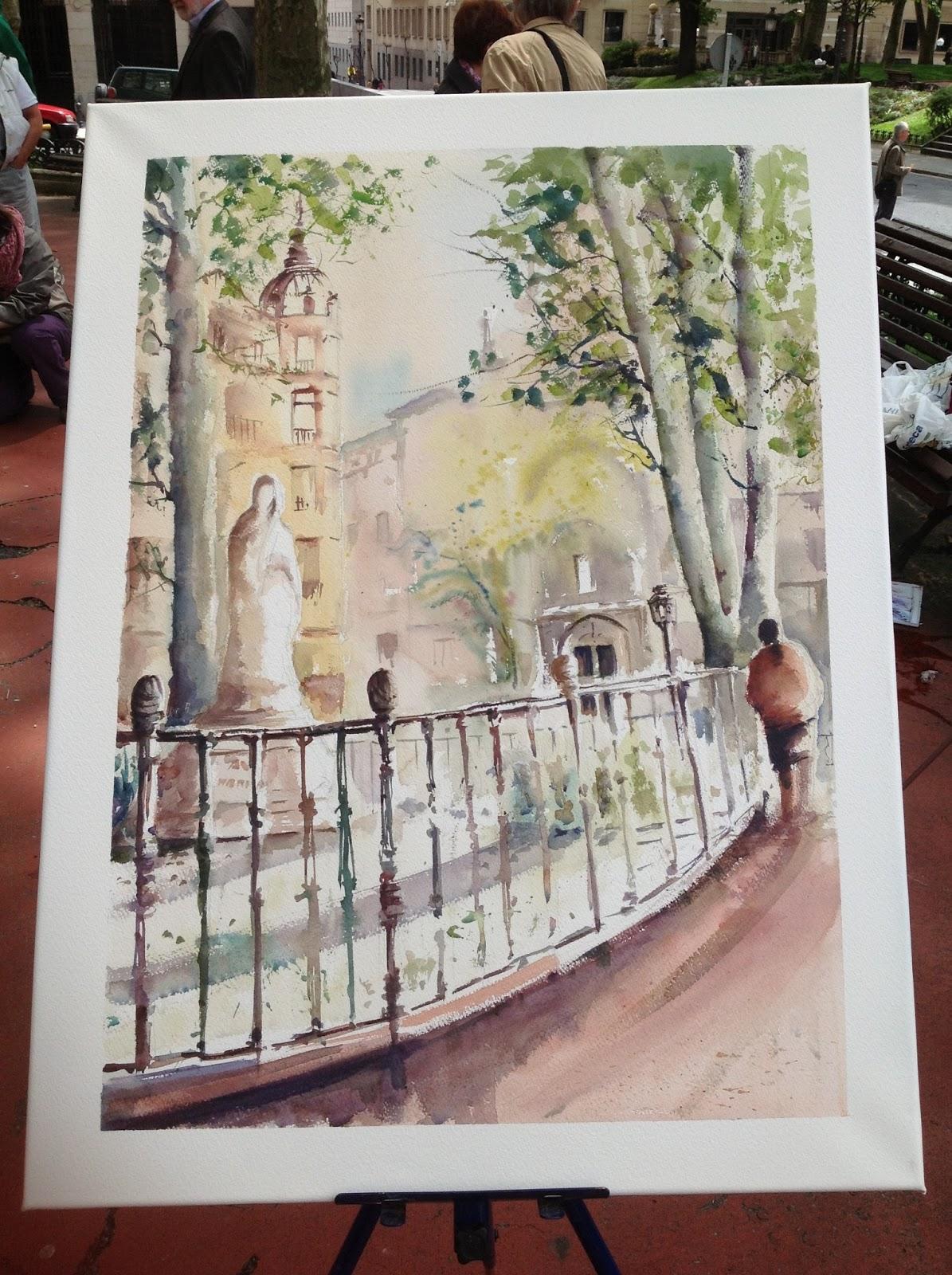 Aguayacuarela obra seleccionada en el concurso de pintura for Jardines de albia