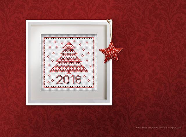 вышивка крестиком: новогодняя елка