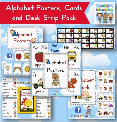 Alphabet {initial sounds} Posters, Cards and Desk Strips Bundled ready for back to school  An ideal starter pack for the beginning of the year, new teachers or Pre-K-2 grades.